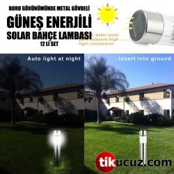 Boru Görünümünde Metal Gövdeli Güneş Enerjili Solar Bahçe Lambası 12li Set