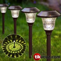 Bronz Görünümlü Güneş Enerjili Solar Bahçe Lambası 4lü Set