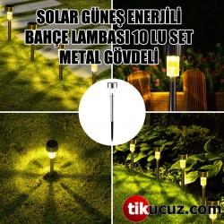 Solar Güneş Enerjili Bahçe Lambası 10lu Set Metal Gövdeli