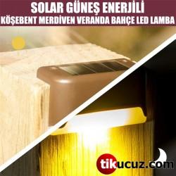 Solar Güneş Enerjili Köşebent Merdiven Veranda Bahçe Led Lamba 4lü Set