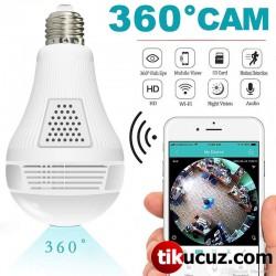 360 Derece Balıkgözü Panoramik Wifi Ampül Ağ ip Kamera