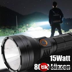 15Watt 8000 Lümen Süper LED Profesyonel Şarjlı El Feneri