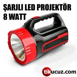 Şarj Edilebilir Led Projektör El Feneri Işıldak 8 Watt El Feneri