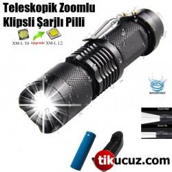 Teleskopik Zoomlu Klipsli Şarjlı Pilli El Feneri