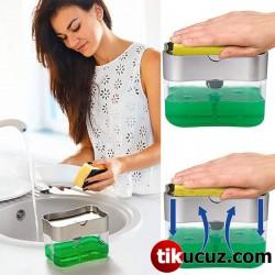 Pompalı Sünger Hazneli Sıvı Sabunluk Deterjanlık
