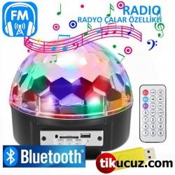 Rgb Led Işıklı Bluetooth Radyo Usb Mp3 Çalar Disko Topu