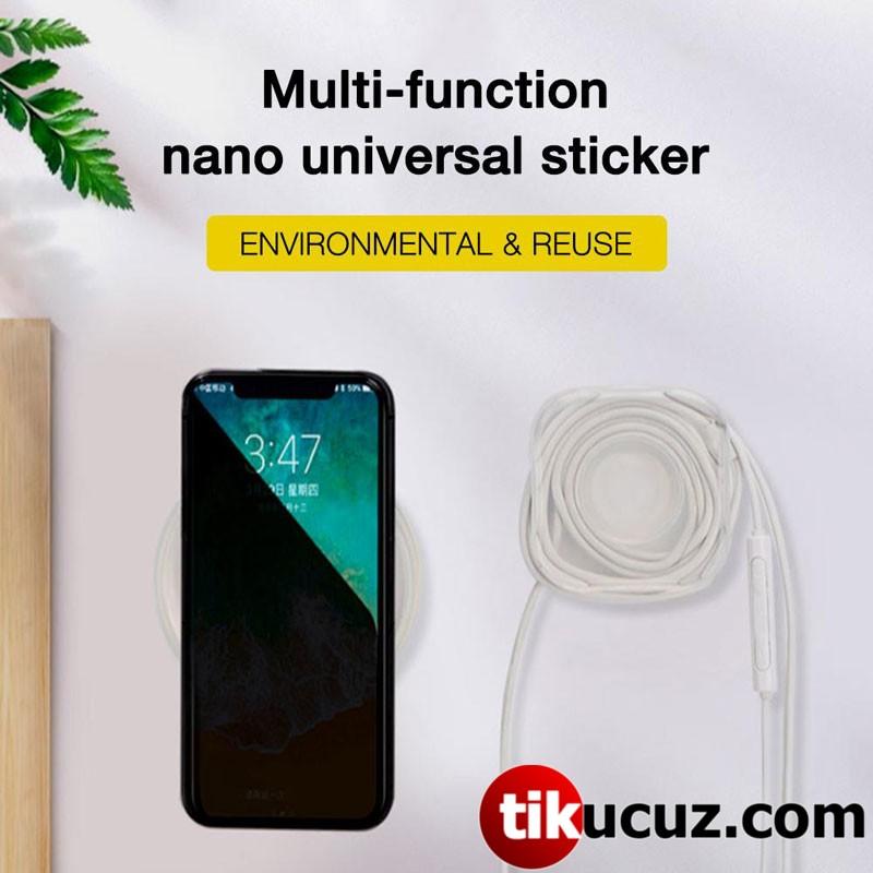 Kablo Kanallı Nano Güçlü Yapışkan Telefon Tutucu (Yuvarlak)