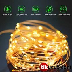 Pilli Şeffaf Kablolu Gün Işığı Sarı Renk Peri Led Işık 5m