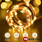 Şeffaf Kablolu Gün Işığı Sarı Renk Pilli Peri Led Işık 3 Metre