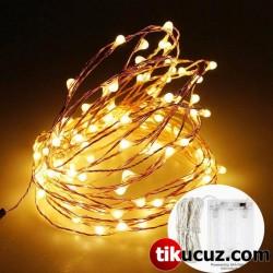 Şeffaf Kablolu Gün Işığı Sarı Renk Pilli Peri Led Işık 5 metre