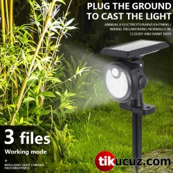 Hareket Sensörlü 26 Ledli 3 Mod lu Solar Bahçe Duvar Lambası